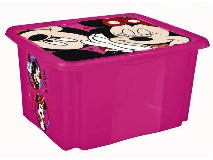 """Úložný box s víkem """"Minnie"""", Růžová"""
