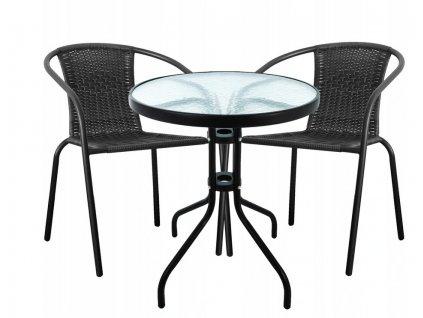 Campela ratanový set (2x křeslo + stůl), černá