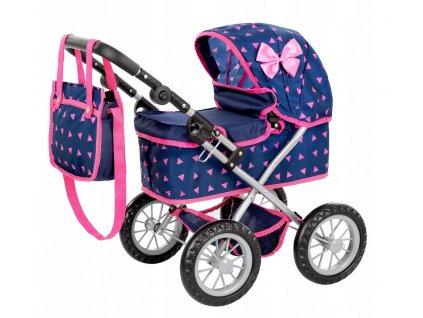 Kinderplay kočárek pro panenky, Tmavě modrá/trojúhelníky