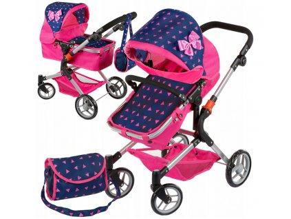 Kinderplay kočárek pro panenky 3v1, Tmavě modrá/trojúhelníky