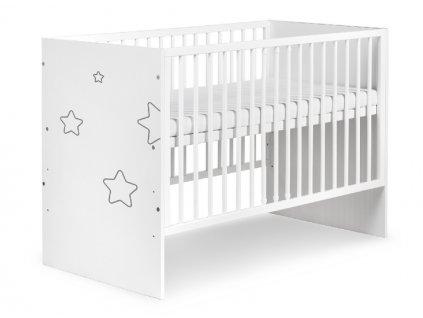 Klups dětská dřevěná postýlka Tino Stars, bílá
