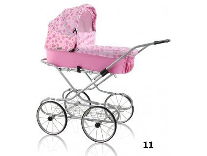 Prampol Kočárek pro panenky Emilie - 11 růžový se srdíčky