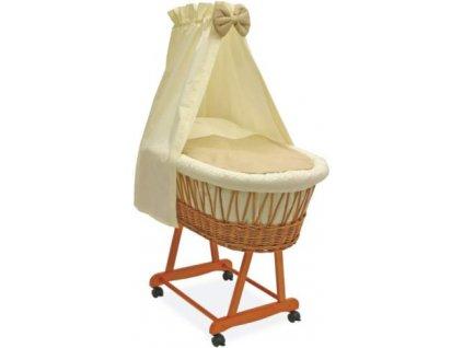 Dětský proutěný koš na spaní Grapi pro miminko či batole. Hnědo-béžové provedení.
