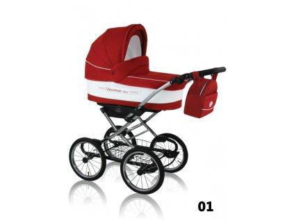 Prampol Kombinovaný kočárek Verona Eko 2019 s autosedačkou - 06 červený  (velká kola)  + Reflexní náramek zdarma