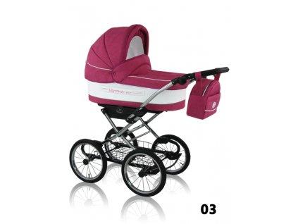 Prampol Kombinovaný kočárek Verona Eko s autosedačkou - 03 růžový (velká kola)  + Reflexní náramek zdarma