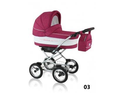 Prampol Kombinovaný kočárek Verona Eko s autosedačkou - 03 růžový  + Reflexní náramek zdarma