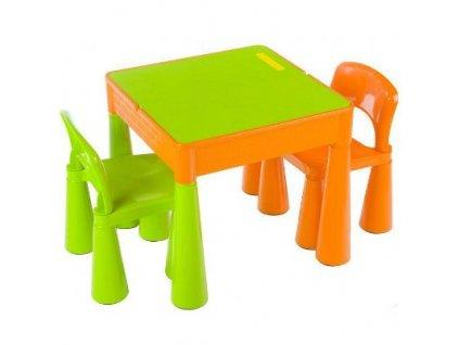 Tega Dětská sada stoleček a 2 židličky Mamut - Zeleno/oranžová