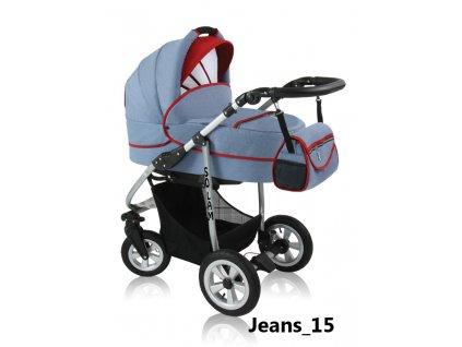Prampol kombinovaný kočárek Solam 2019 komplet s autosedačkou - Jeans 15  + Reflexní náramek zdarma