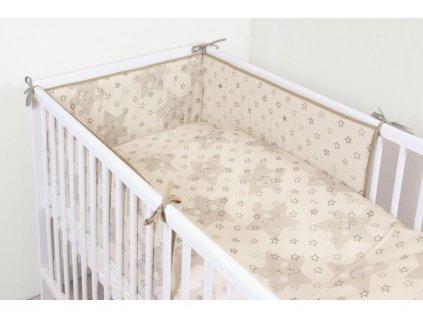 CEBA BABY 3-dílné dětské povlečení 100 x 135 cm - Hvězdy béžová