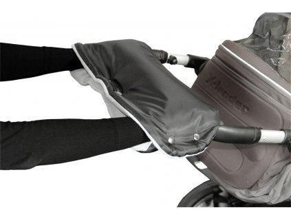 Emitex rukávník na kočárek fleece - černý + šedý