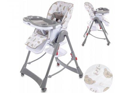Kinderplay jídelní židlička Standard, šedý medvídek