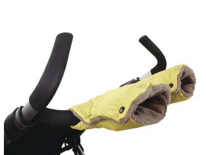 Little Angel rukavice Geometry - žlutá spirála/hnědá