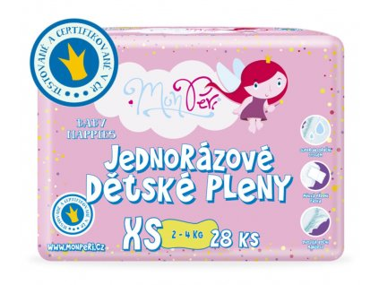 MonPeri dětské pleny XS - 2-4kg, 28ks/bal