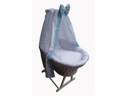 Dětský proutěný koš na spaní Grapi pro miminko či batole. Bílé provedení s modrou mašlí.