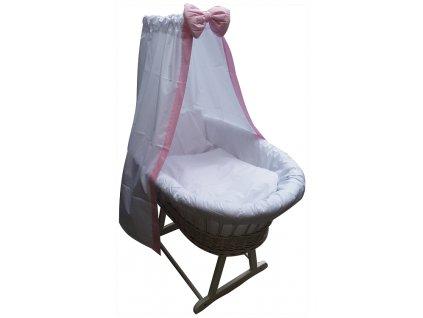 Dětský proutěný koš na spaní Grapi pro miminko či batole. Bílé provedení s růžovou mašlí.
