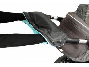 Emitex rukávník na kočárek fleece - černý + aqua