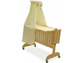 GRAPI Dřevěná kolébka pro miminko s vybavením a matrací - Světle žlutá