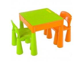 Dětská sada stoleček a 2 židličky Tega - zeleno/oranžová