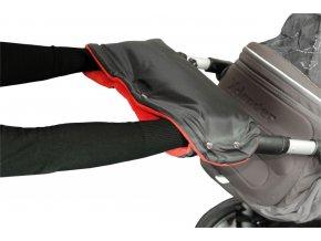 Emitex rukávník na kočárek fleece - černý + červený