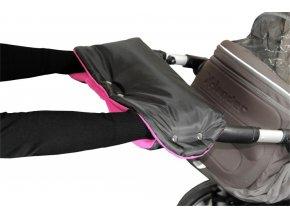 Emitex rukávník na kočárek fleece - černý + fuchsie