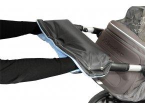Emitex rukávník na kočárek fleece - černý + světle modrý
