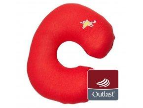 Little Angel cestovní polštářek - červená/starorůžová