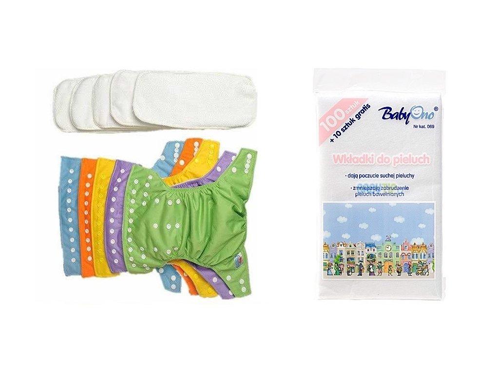 AIO sada: 5ks: plenkové kalhotky+5 ks bambusové plenky+110 ks separačky BabyOno