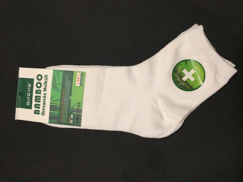 Bambusové ponožky - 5 párů bílé polovysoké