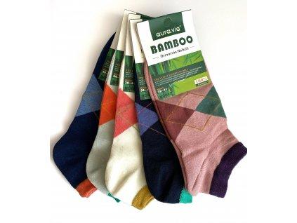 Dámské bambusové kotníčkové ponožky MIX barev 5 ks