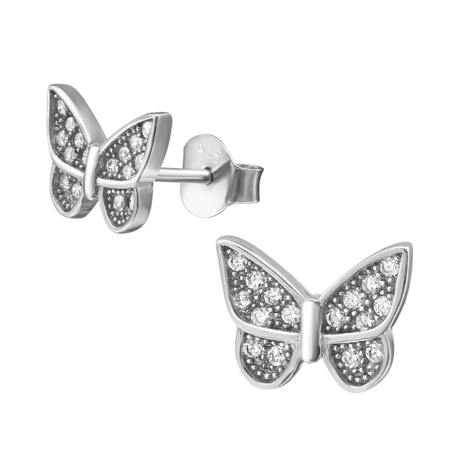 Stříbrné náušnice s motýlky
