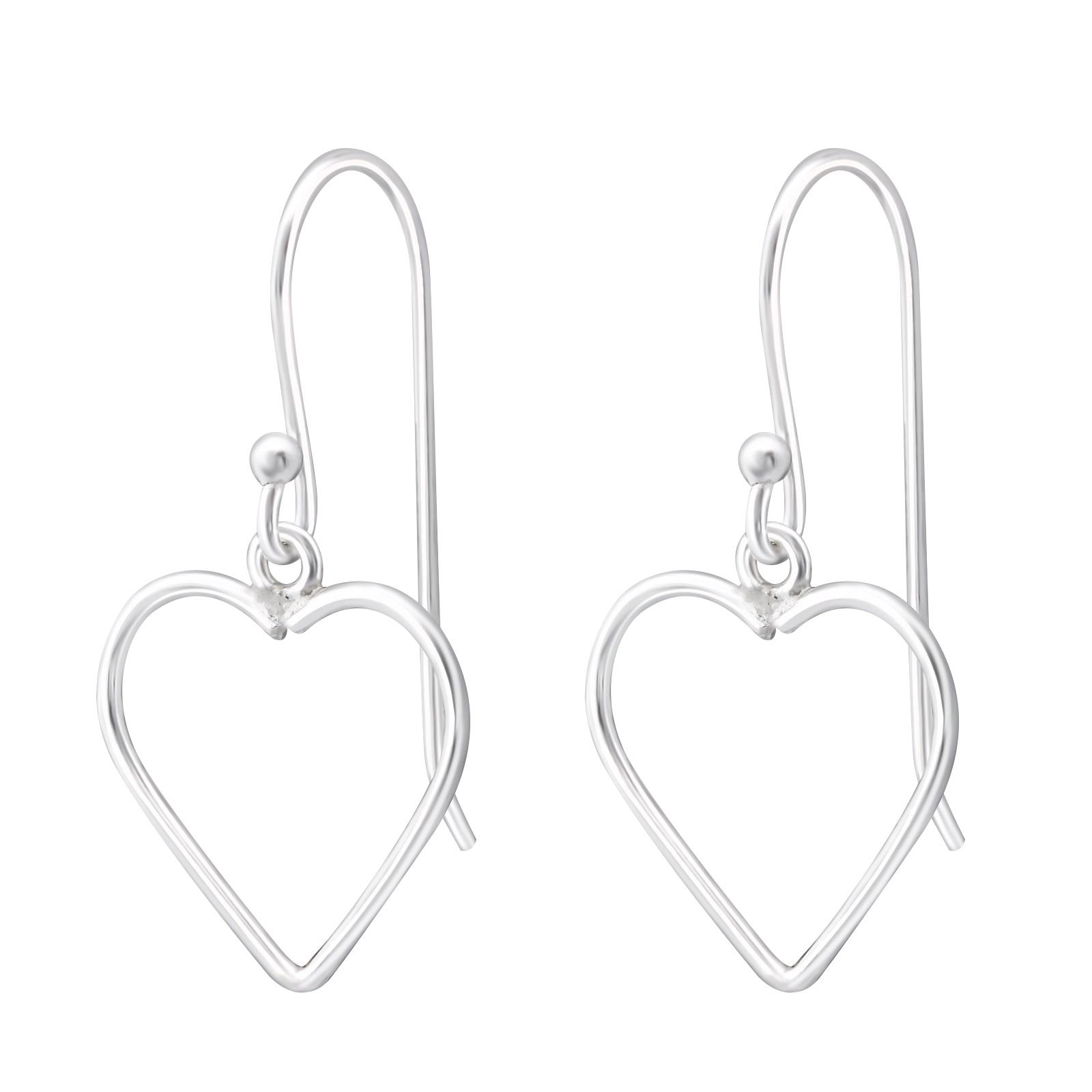 Stříbrné náušnice Zavěšená Srdce