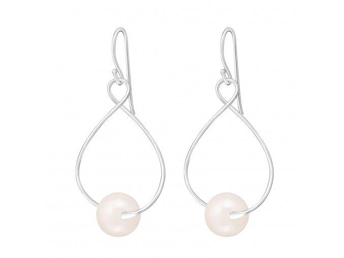 Stříbrné náušnice perly růžové