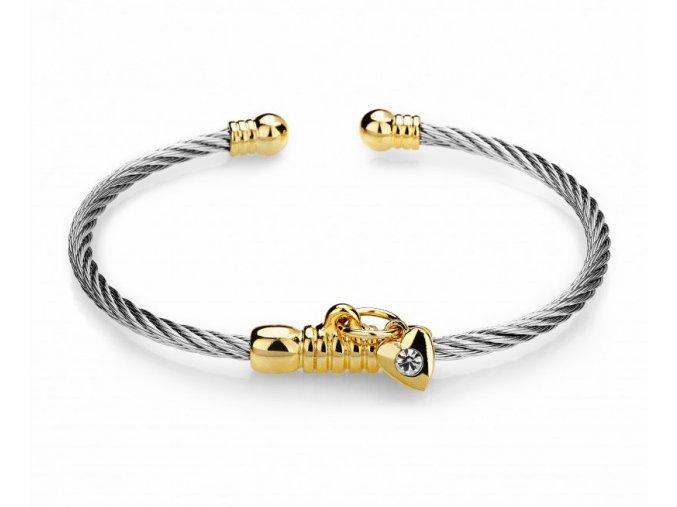 Náramek chirurgická ocel zlaté srdce & zirkon zlato stříbrná