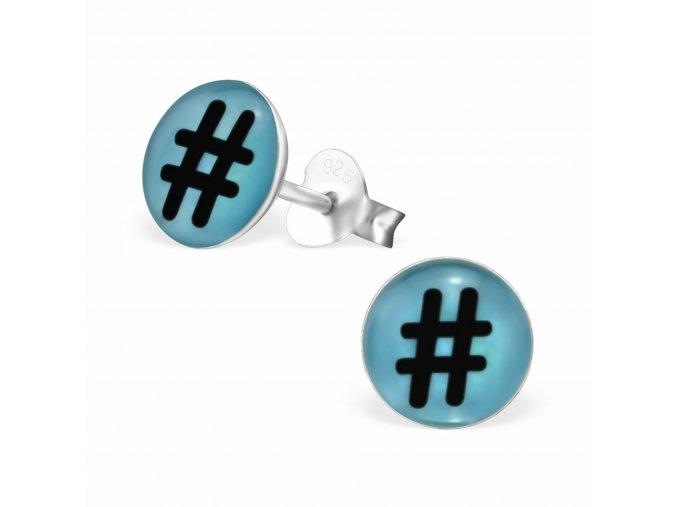 Stříbrné dětské náušnice Hashtag