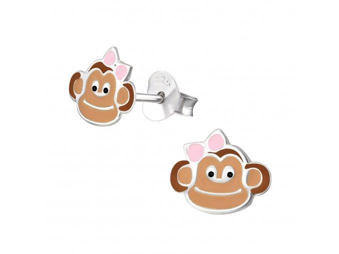 Dětské stříbrné náušnice Opičky
