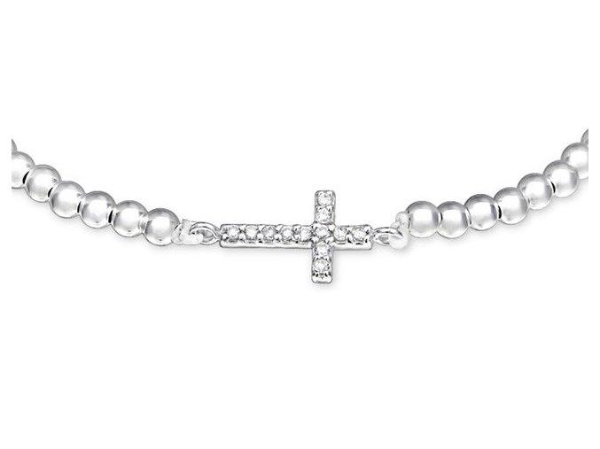 Náramek Zirkonový křížek korálkový