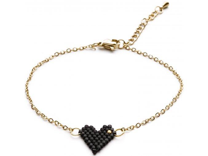 Náramek Heart beads black