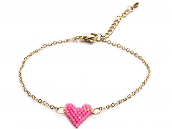 Náramek Heart beads pink