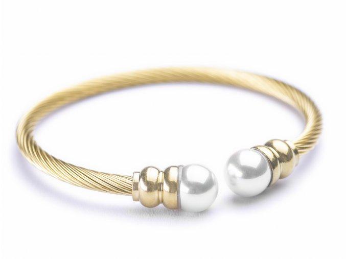 Náramek White Pearl gold Bangles