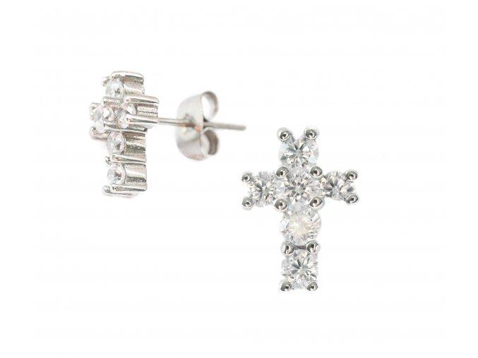 Náušnice Křížky & zirkon ocelové