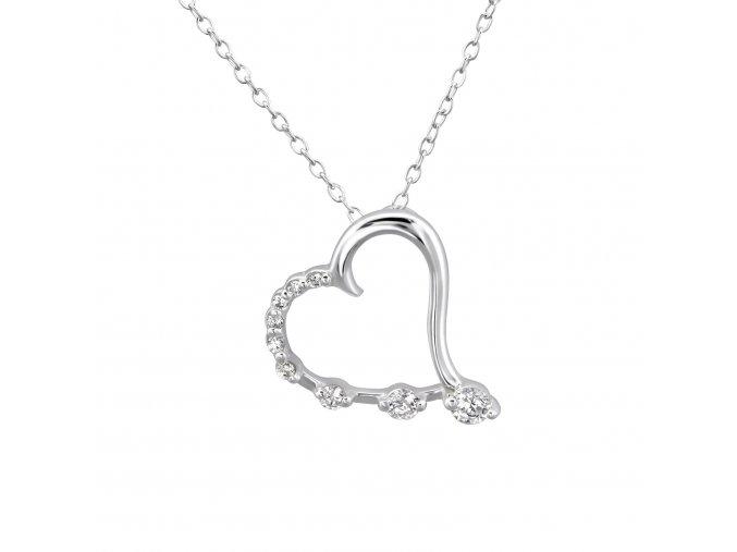 Stříbrný řetízek Srdce Amor