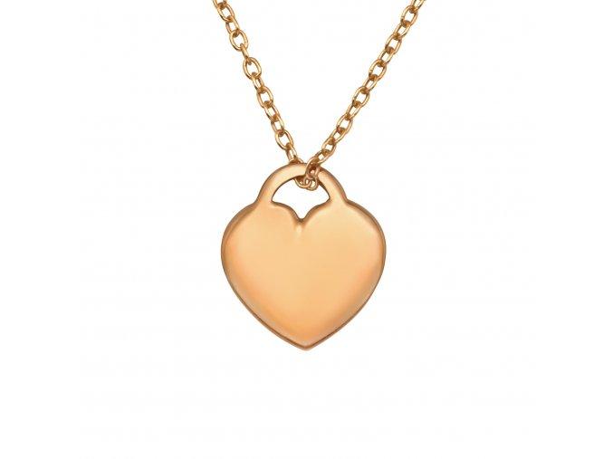 Stříbrný řetízek srdce rose gold