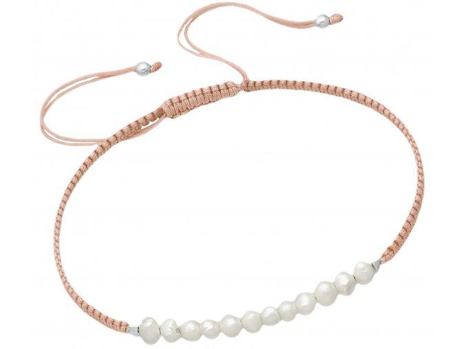 šňůrkový náramek fresh pearl lite peach