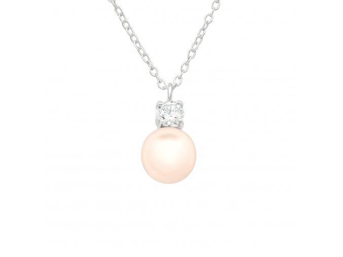 Stříbrný řetízek s perlou a zirkonem