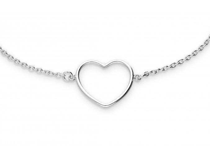 Stříbrný náramek Srdce řetízkový bangles