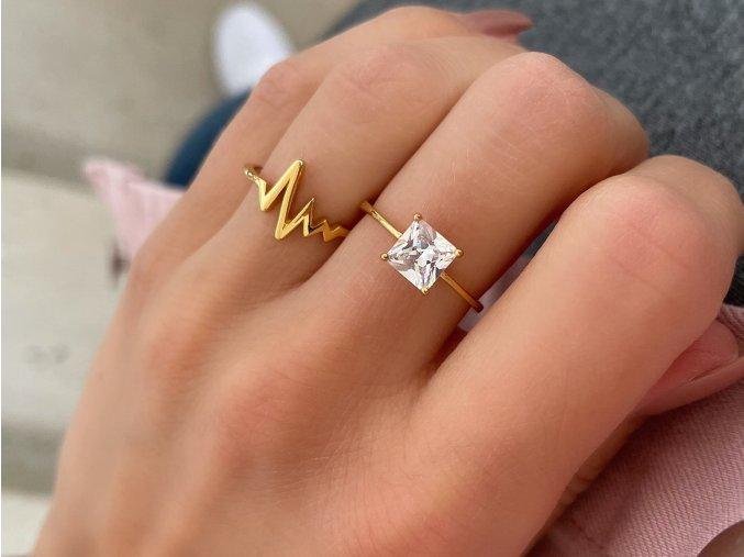 Prsten Gold & Zirkon stříbro 925