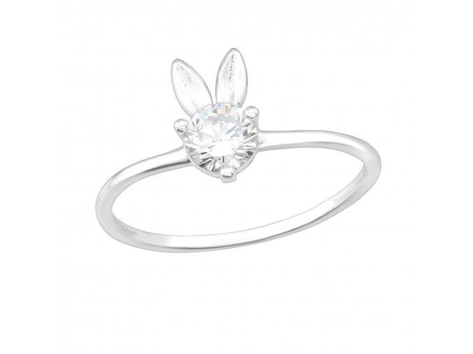 Stříbrný prsten Zajíček