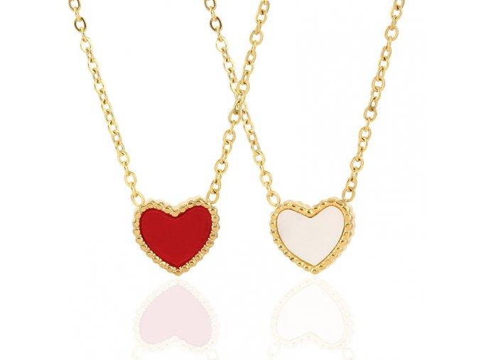Řetízek z chirurgické oceli červeno perleťové srdce zlatý