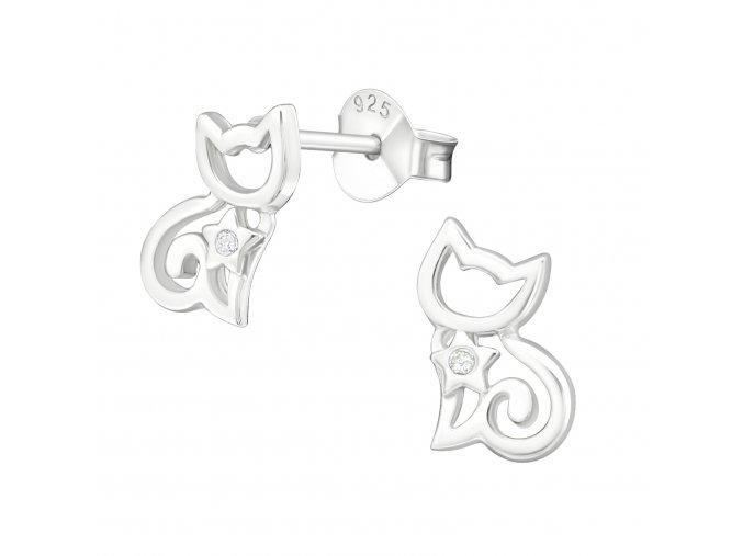 Stříbrné puzetové náušnice Kočičky