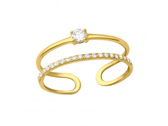 Prsten dvojitý otevřený Zirconia gold stříbro 925